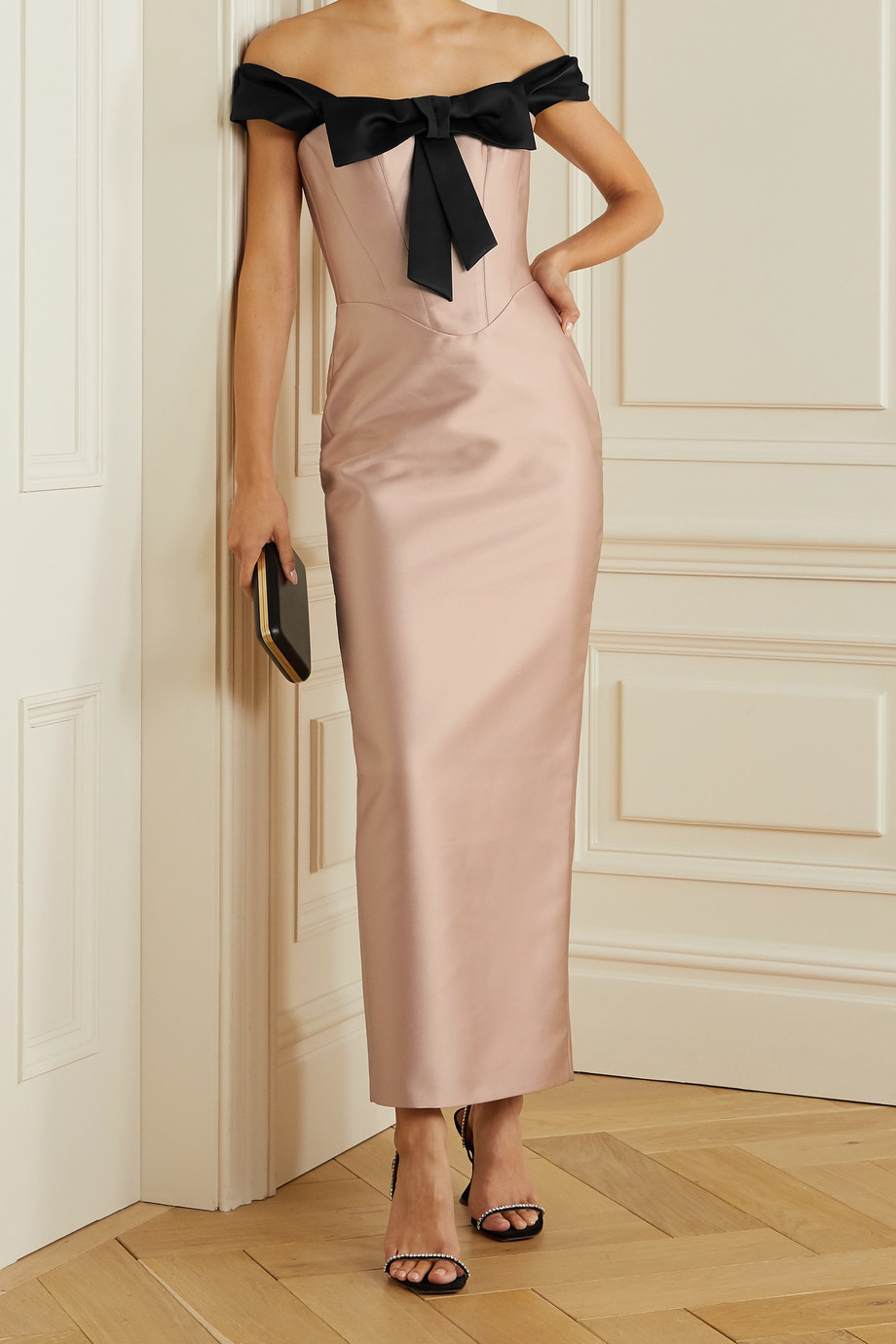 RASARIO Off-the-shoulder bow-embellished duchesse-satin dress