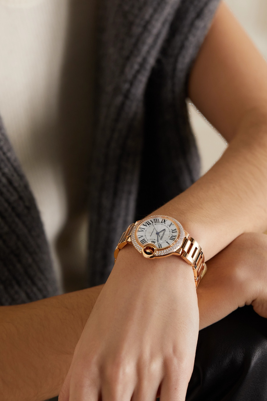 CARTIER Ballon Bleu de Cartier 33mm 18-karat pink gold and diamond watch