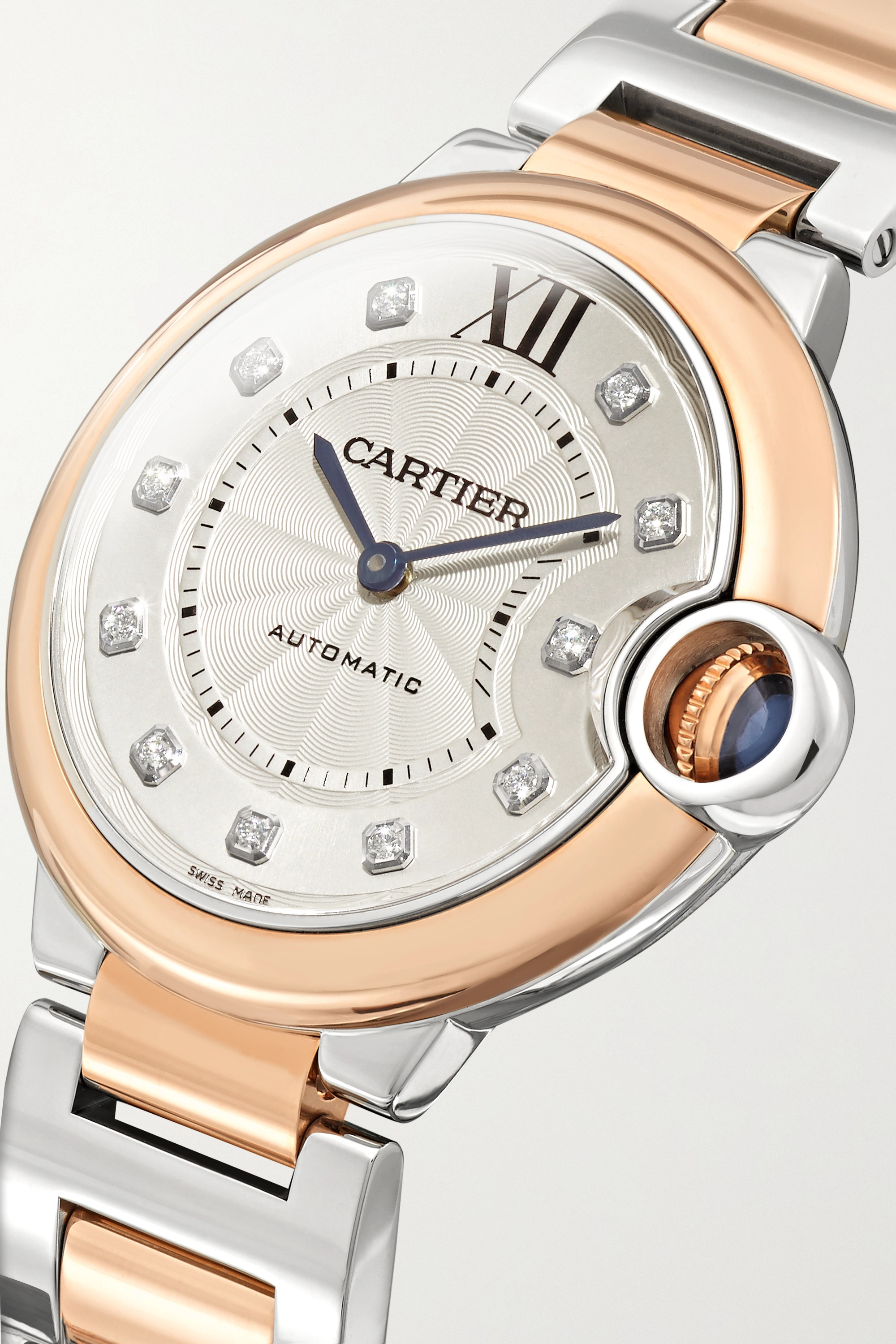 CARTIER Ballon Bleu de Cartier Automatic 36mm 18-karat rose gold, stainless steel and diamond watch