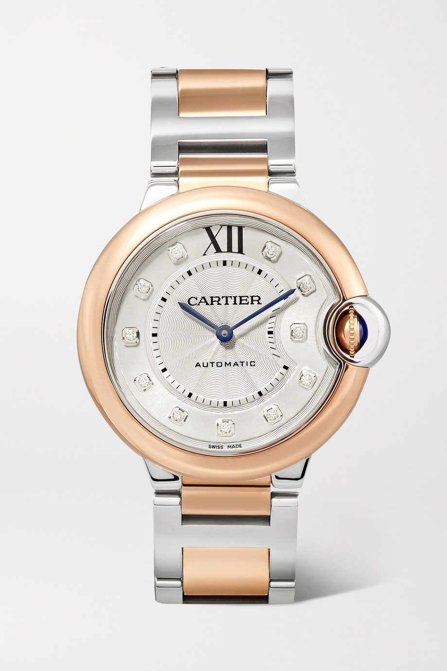 CARTIER Ballon Bleu de Cartier 36mm 18-karat rose gold, stainless steel and diamond watch