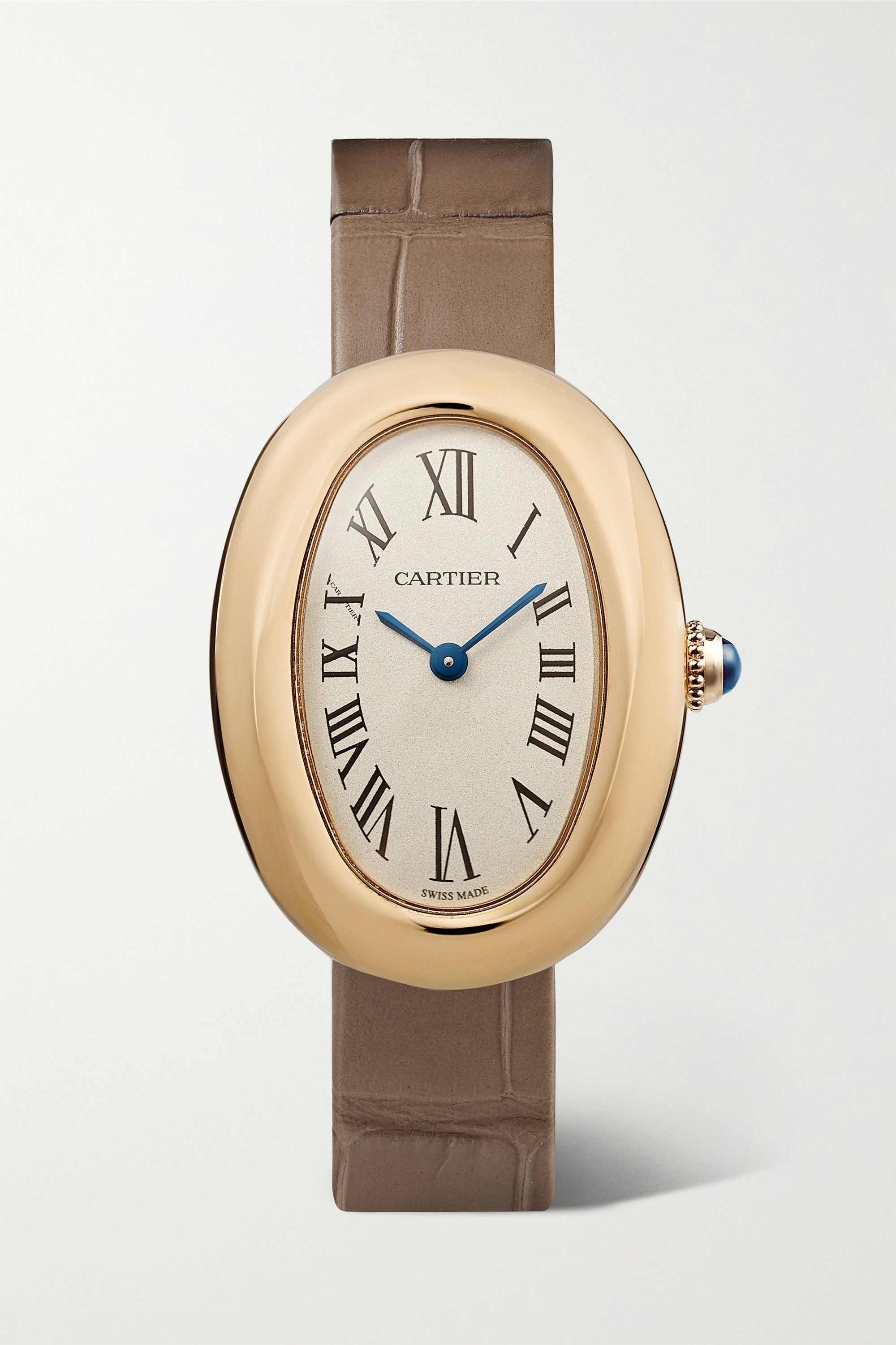 CARTIER Baignoire 1920 26mm small 18-karat gold and alligator watch