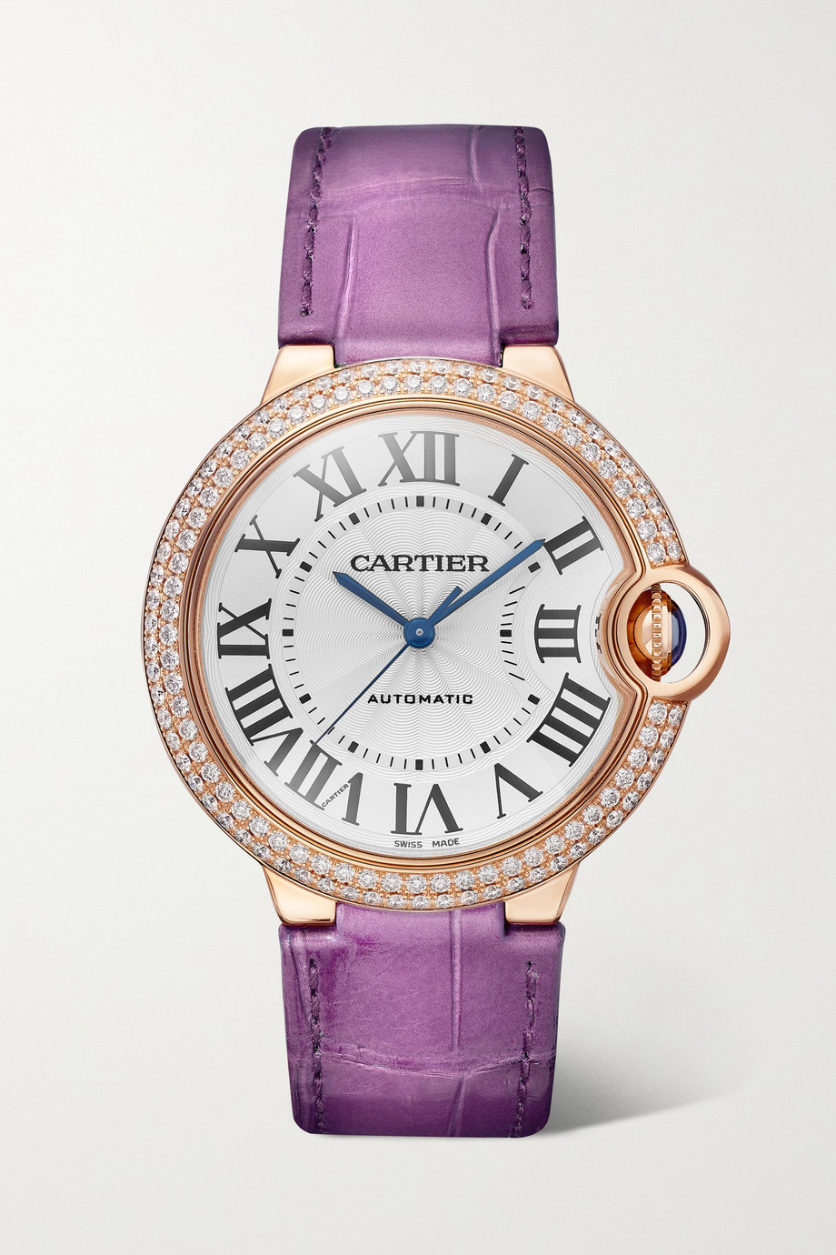 CARTIER Ballon Bleu de Cartier Automatic 36mm 18-karat pink gold, alligator and diamond watch