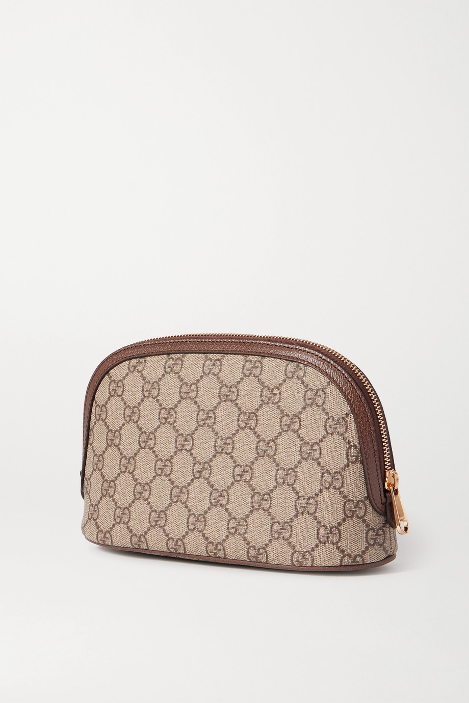 GUCCI Leather-trimmed printed coated-canvas cosmetics case