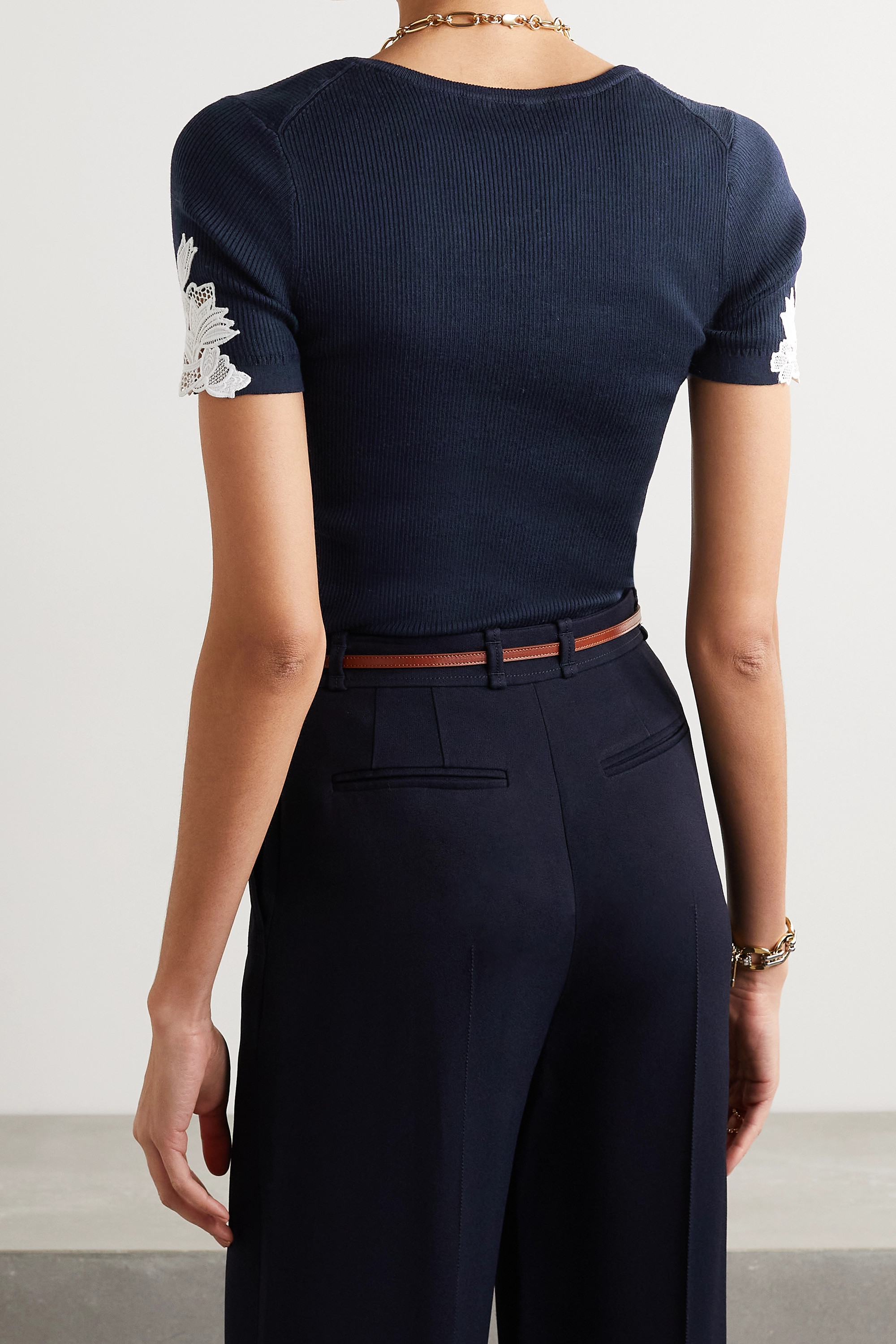 CHLOÉ Guipure lace-trimmed ribbed cotton top