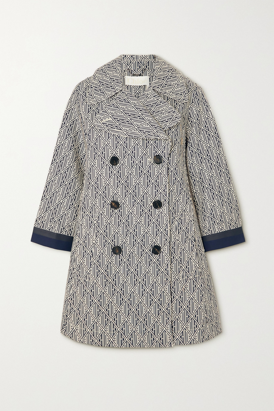 CHLOÉ Double-breasted printed cotton-gabardine coat