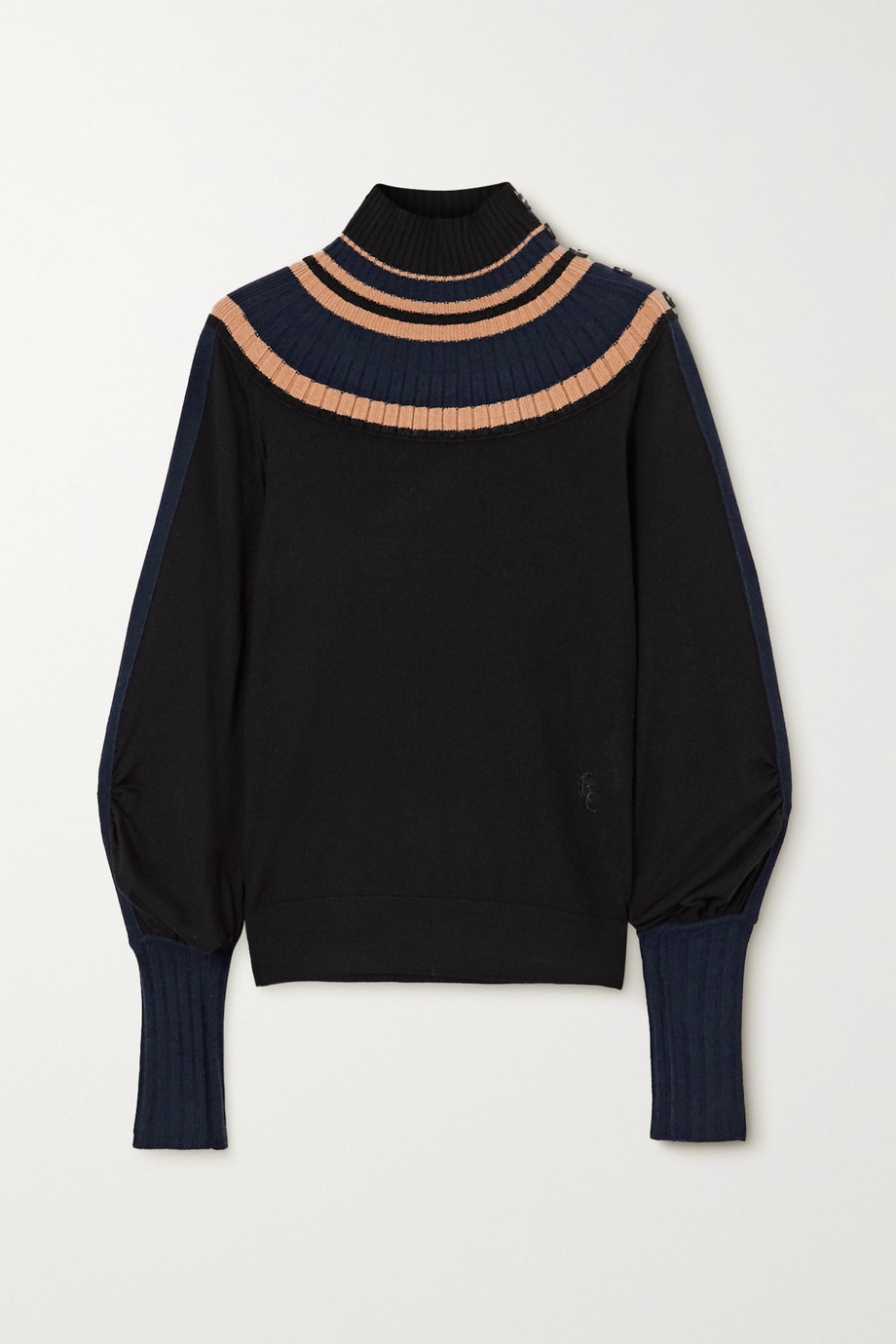 CHLOÉ Striped ribbed wool turtleneck sweater