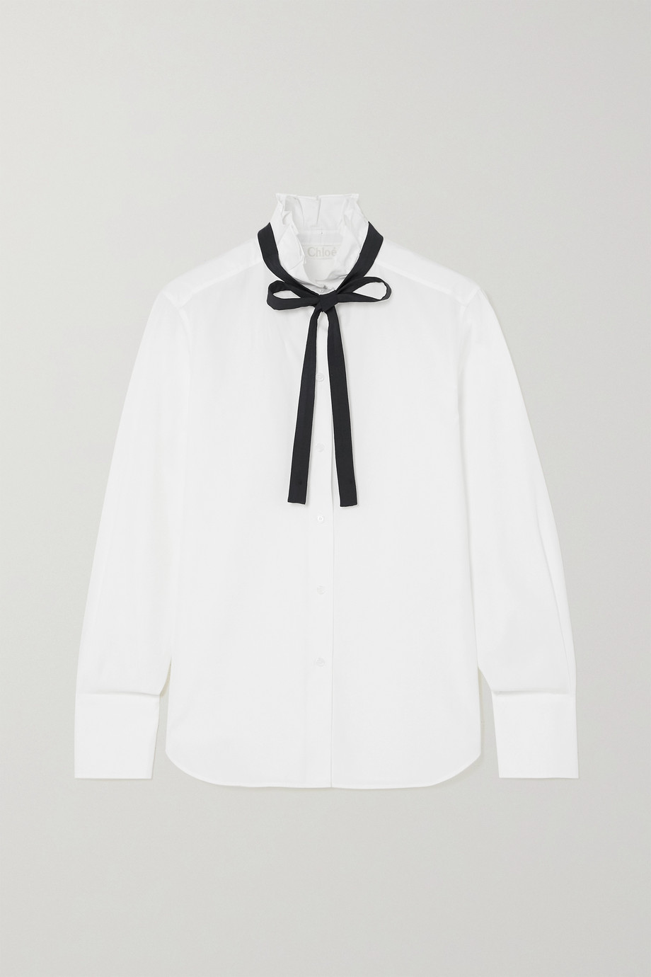 CHLOÉ Silk-trimmed ruffled cotton-poplin shirt