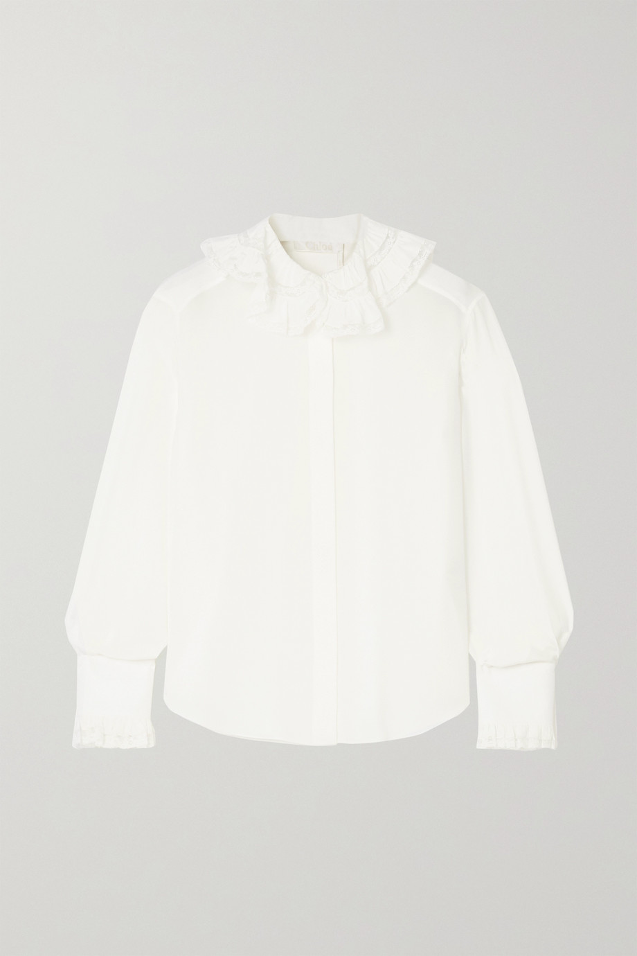 CHLOÉ Ruffled lace-trimmed embroidered silk blouse