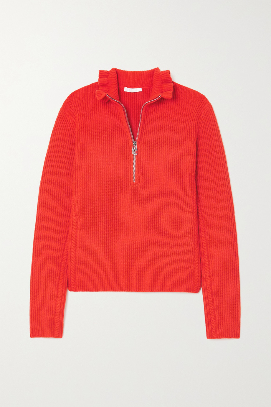 CHLOÉ Ruffled ribbed wool and cashmere-blend sweater