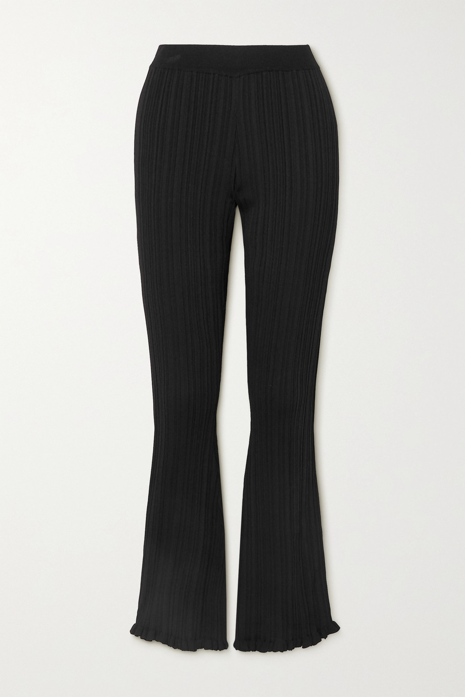 HOLZWEILER Dahlia ruffled ribbed-knit flared pants