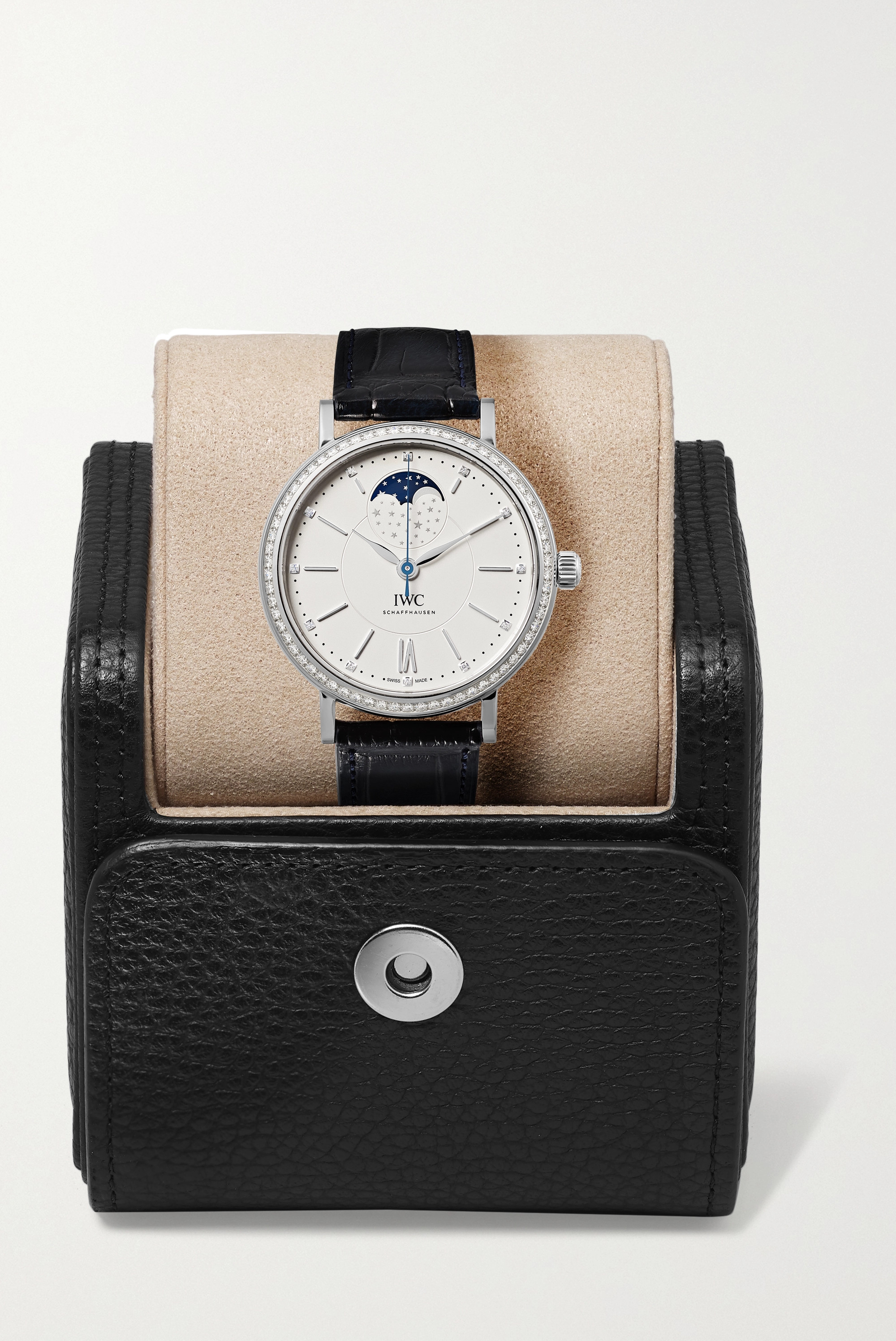 IWC SCHAFFHAUSEN Portofino Automatic Moon Phase 37mm stainless steel, alligator and diamond watch