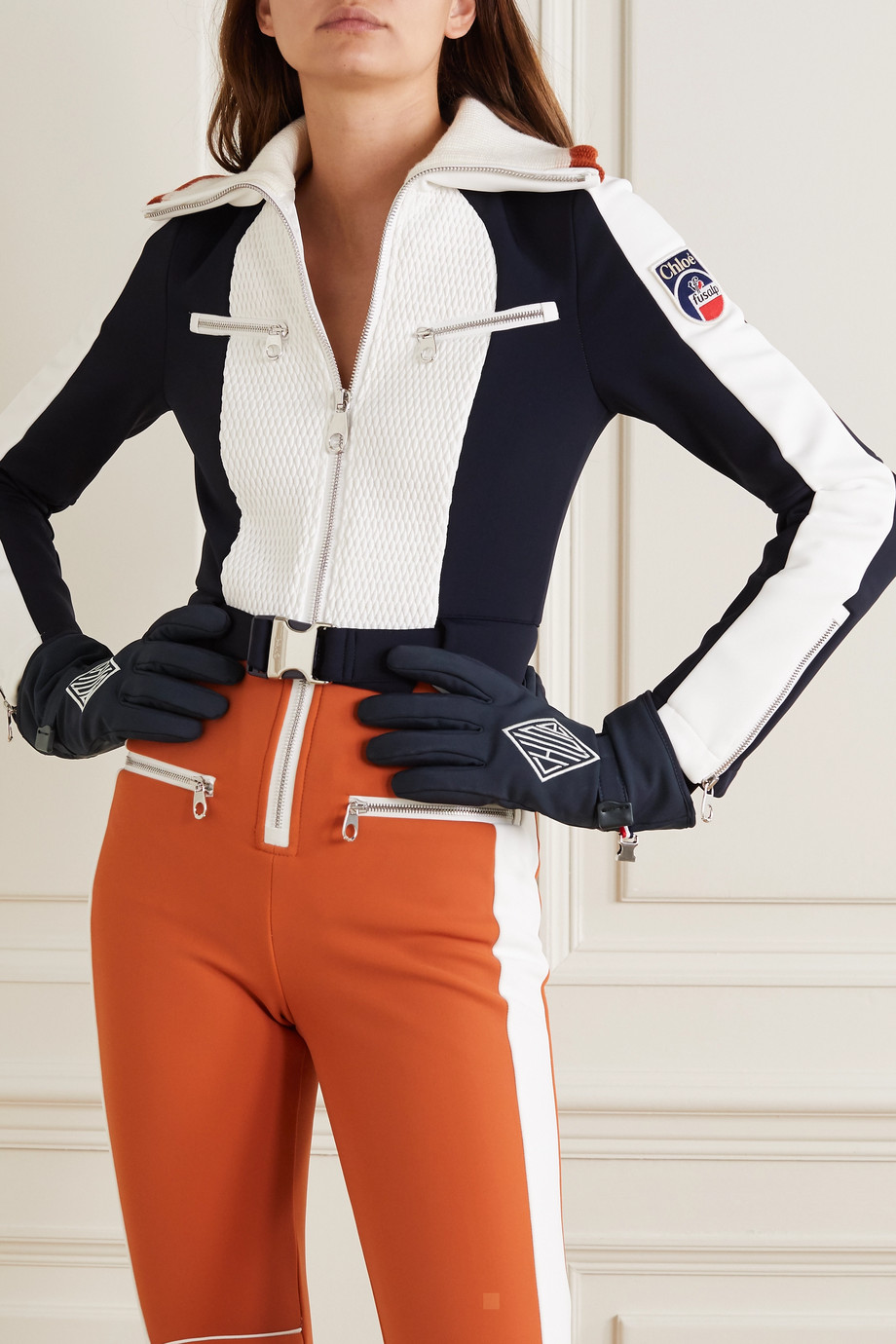 CHLOÉ + Fusalp embroidered shell and leather ski gloves