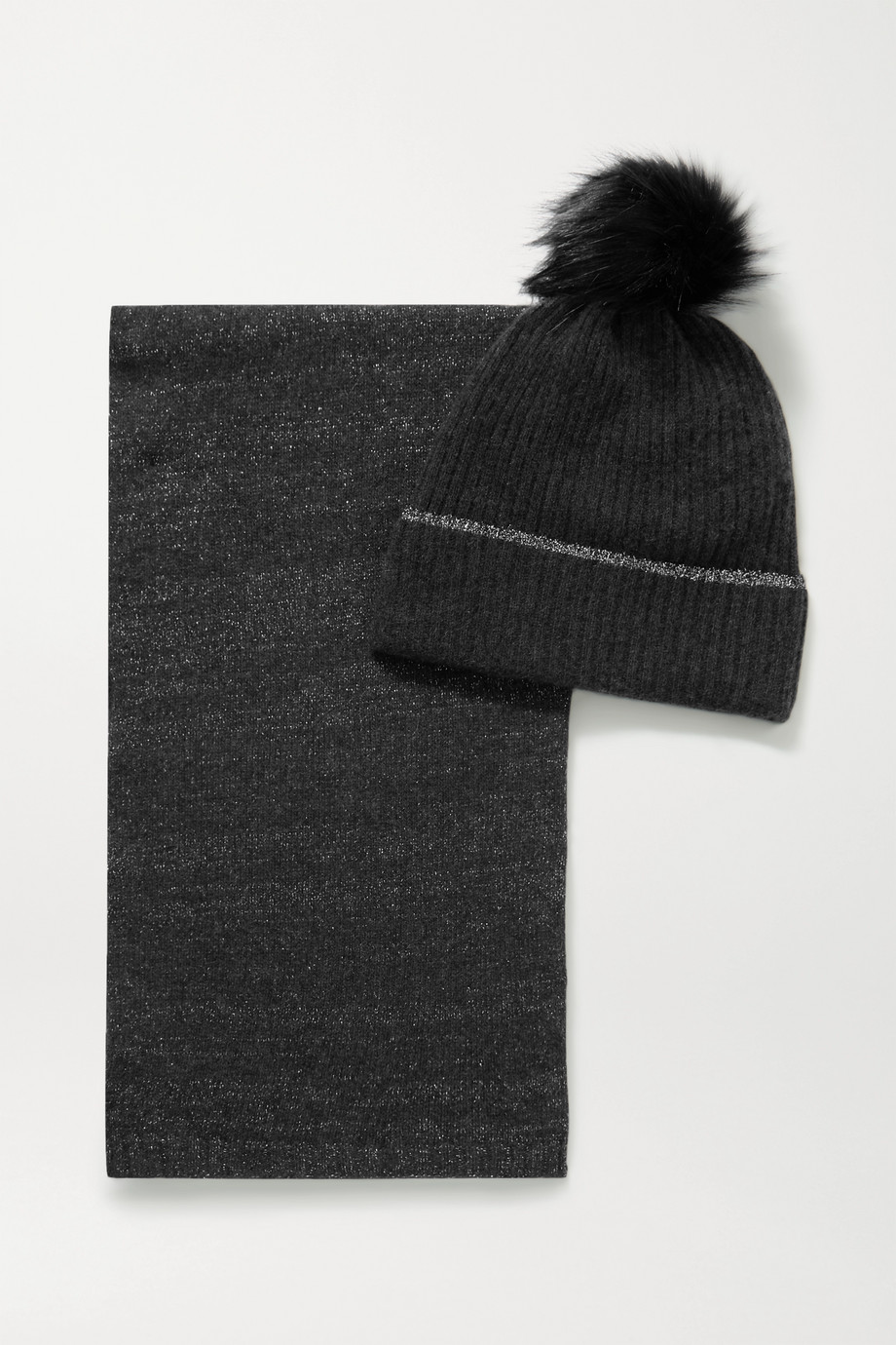 PORTOLANO Faux fur-trimmed metallic cashmere-blend beanie and scarf set