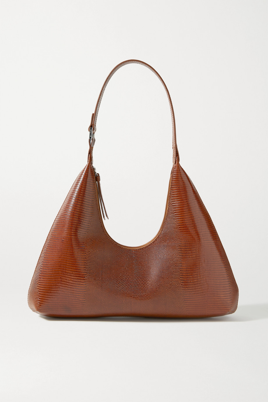 BY FAR Amber lizard-effect leather shoulder bag