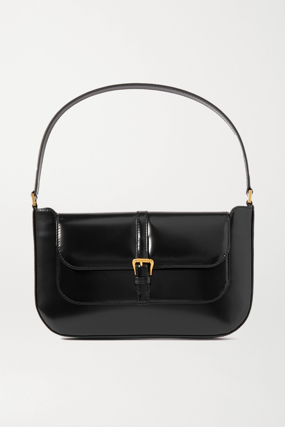 BY FAR Miranda glossed-leather shoulder bag