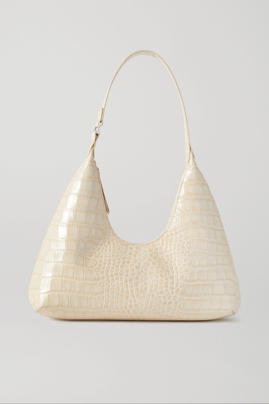 BY FAR Amber glossed croc-effect leather shoulder bag
