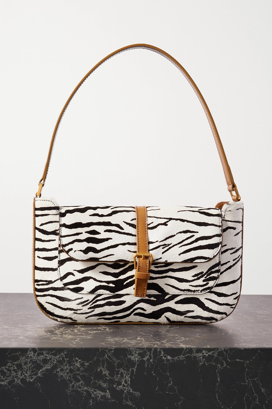 BY FAR Miranda leather-trimmed zebra-print calf hair shoulder bag