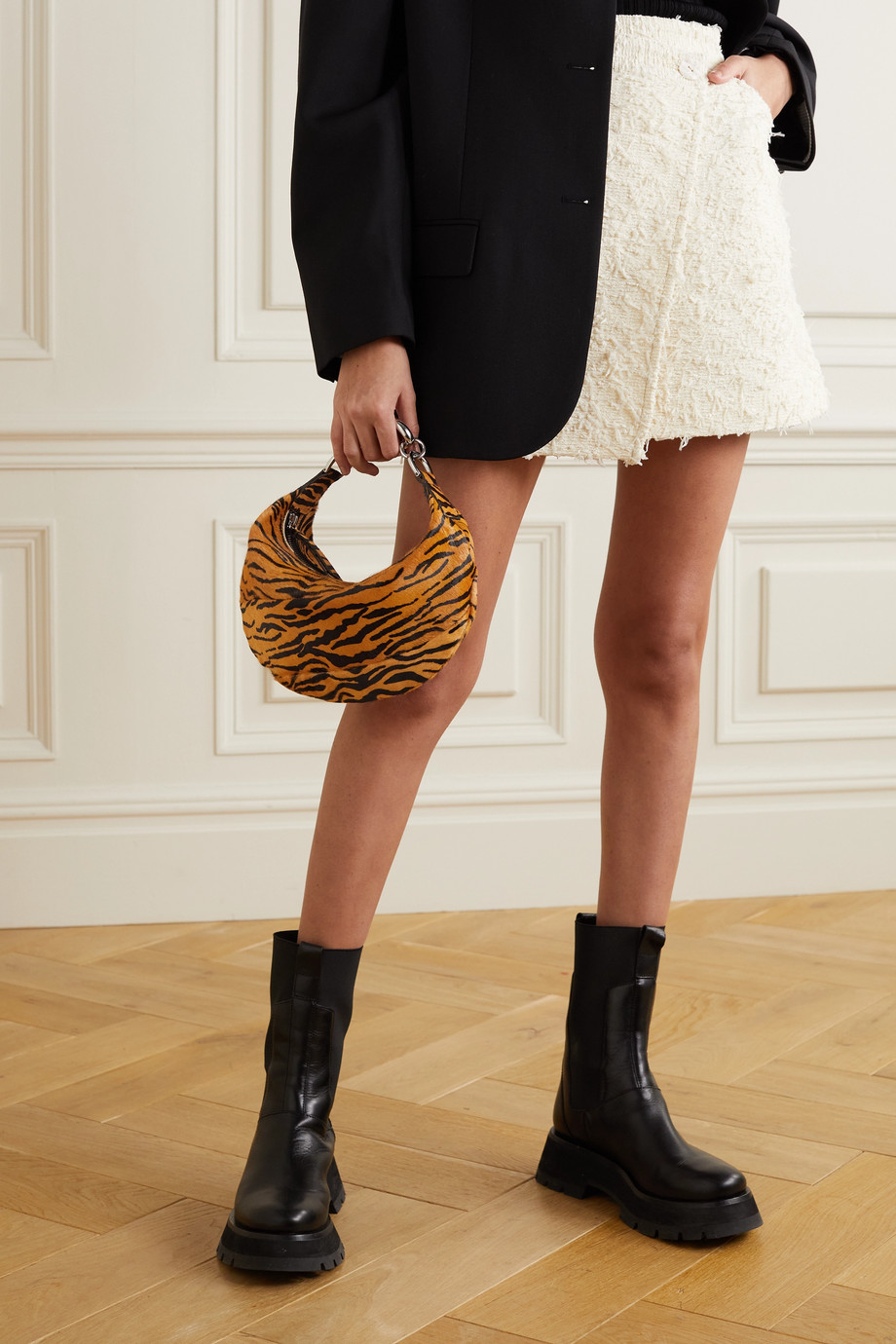 BY FAR Bougie tiger-print calf hair tote