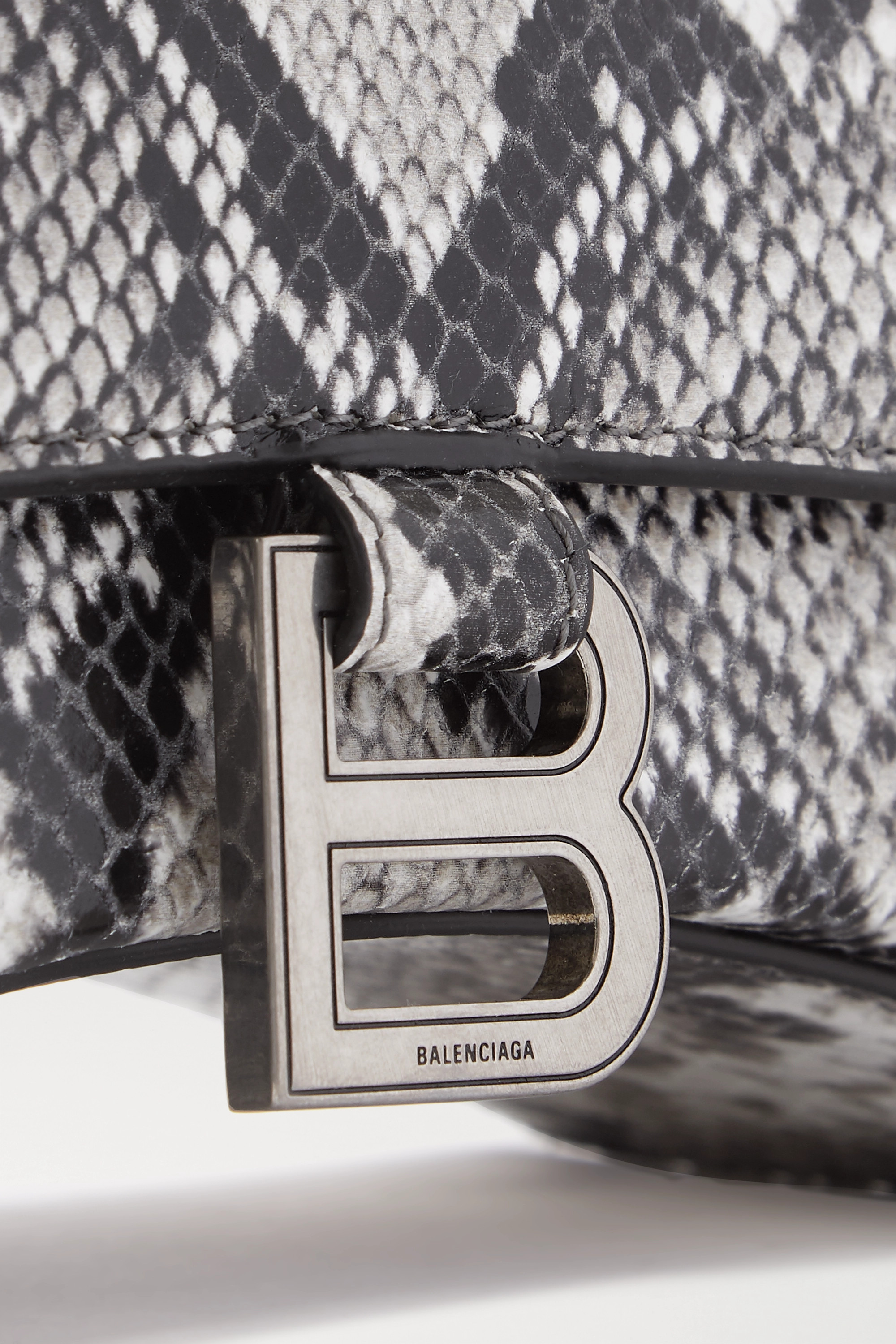 BALENCIAGA Hourglass python-effect leather tote
