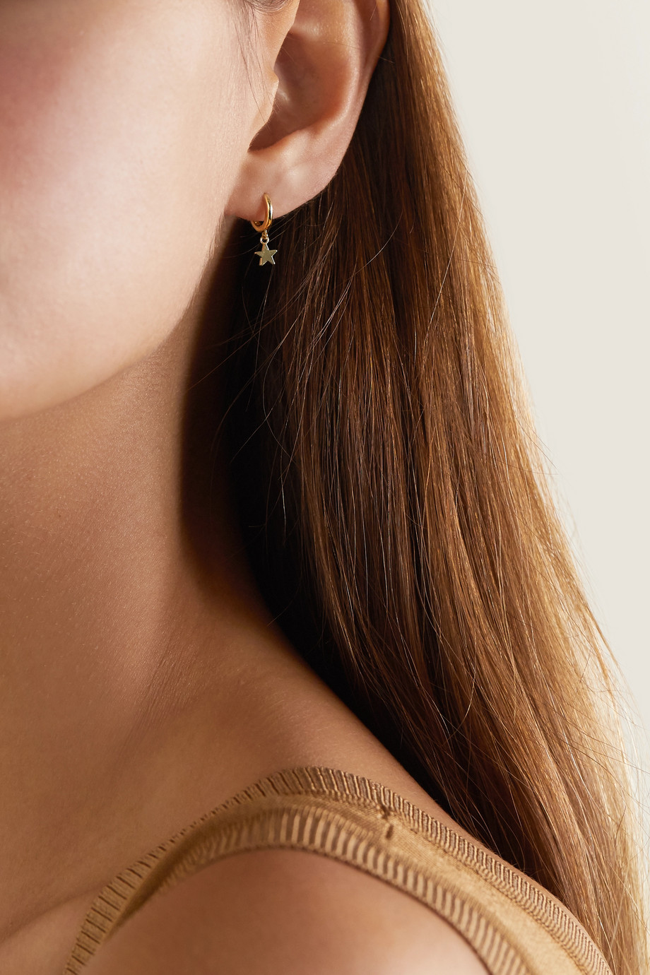 JENNIFER MEYER Mini Star 18-karat gold hoop earrings