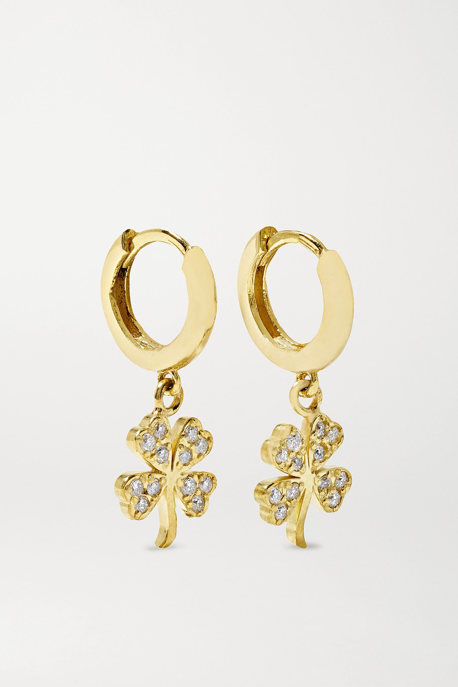 JENNIFER MEYER Mini Clover 18-karat gold diamond hoop earrings