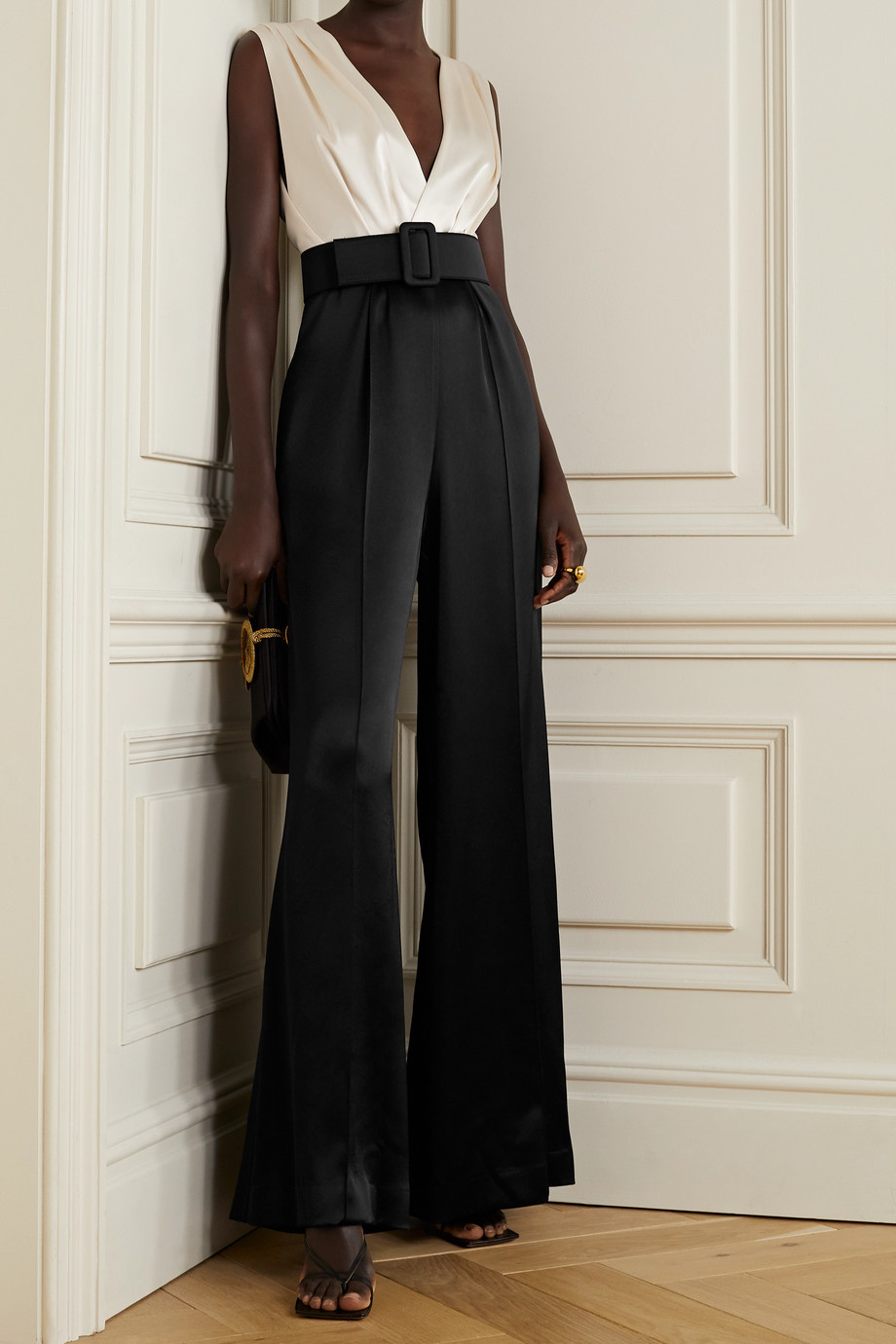 COSTARELLOS Keaton belted two-tone satin jumpsuit