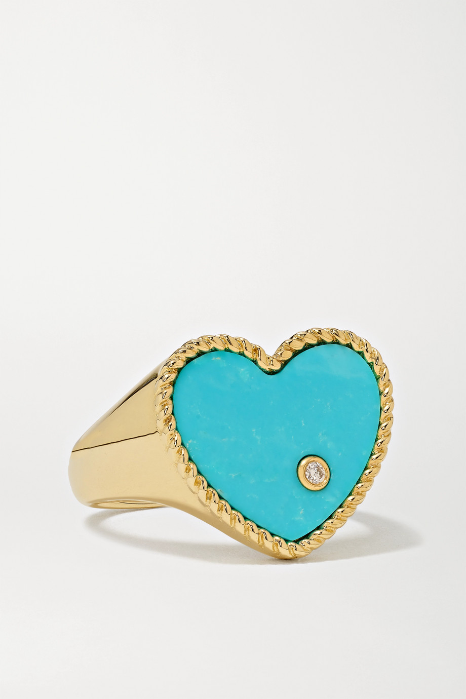 YVONNE LÉON 9-karat gold, turquoise and diamond signet ring