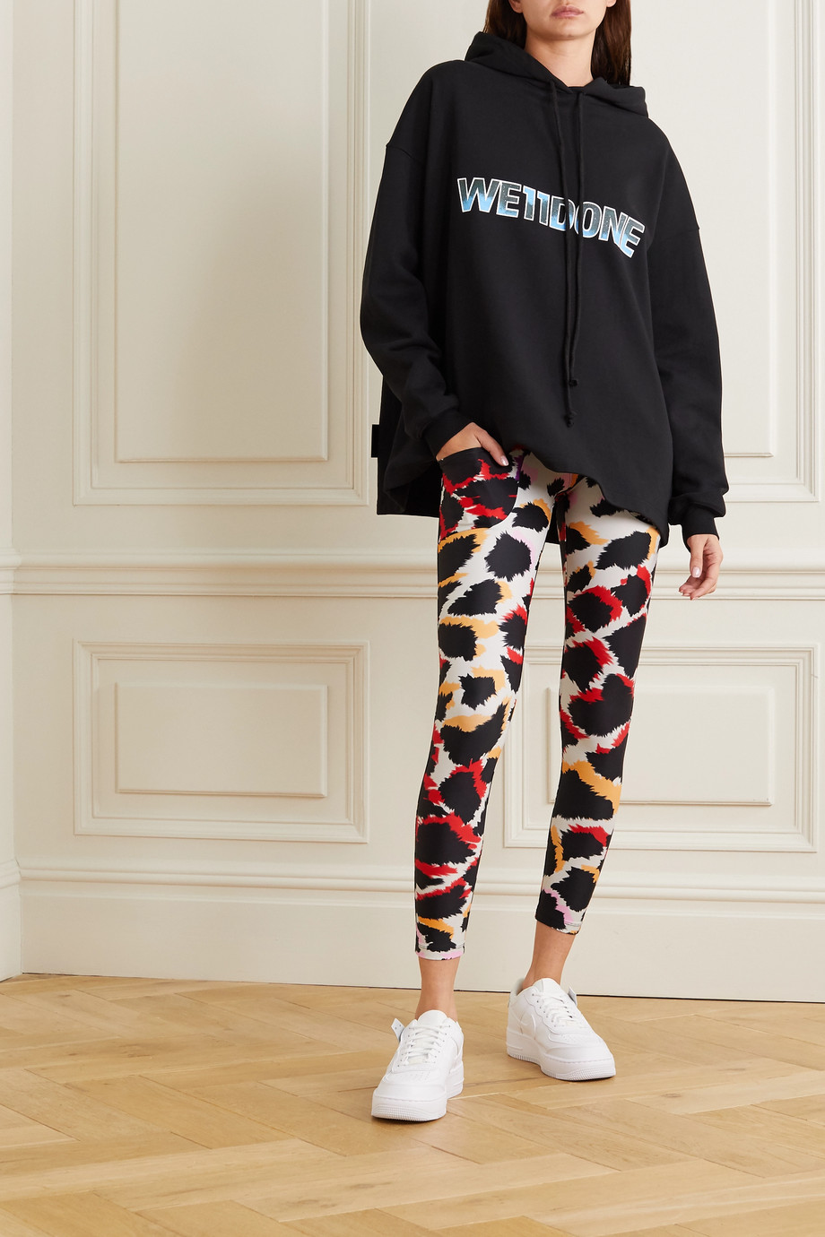 TWIN FANTASY Paneled animal-print stretch leggings