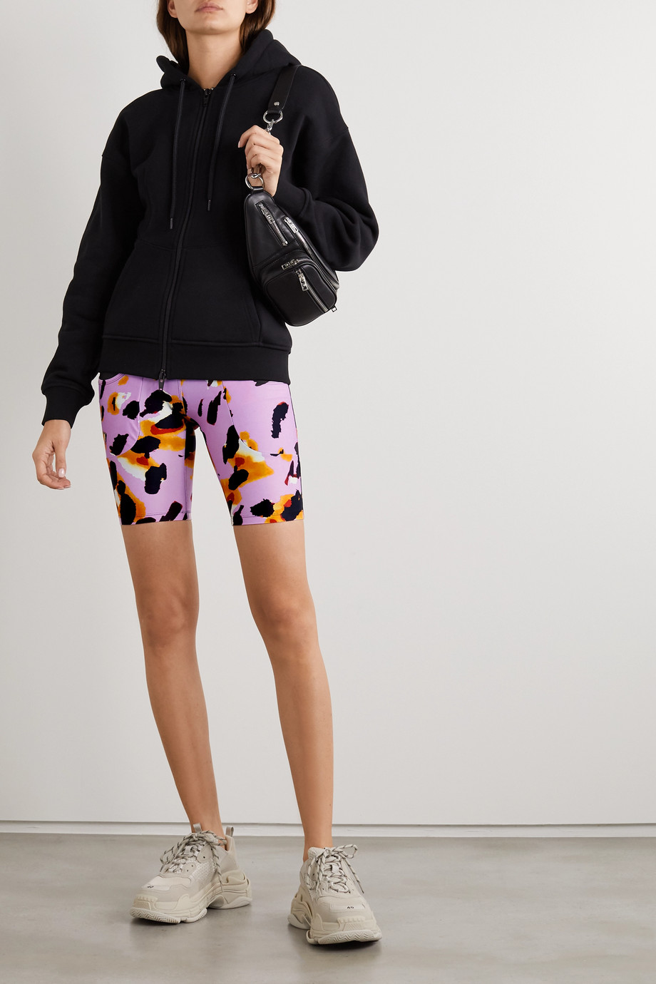TWIN FANTASY Paneled animal-print stretch shorts