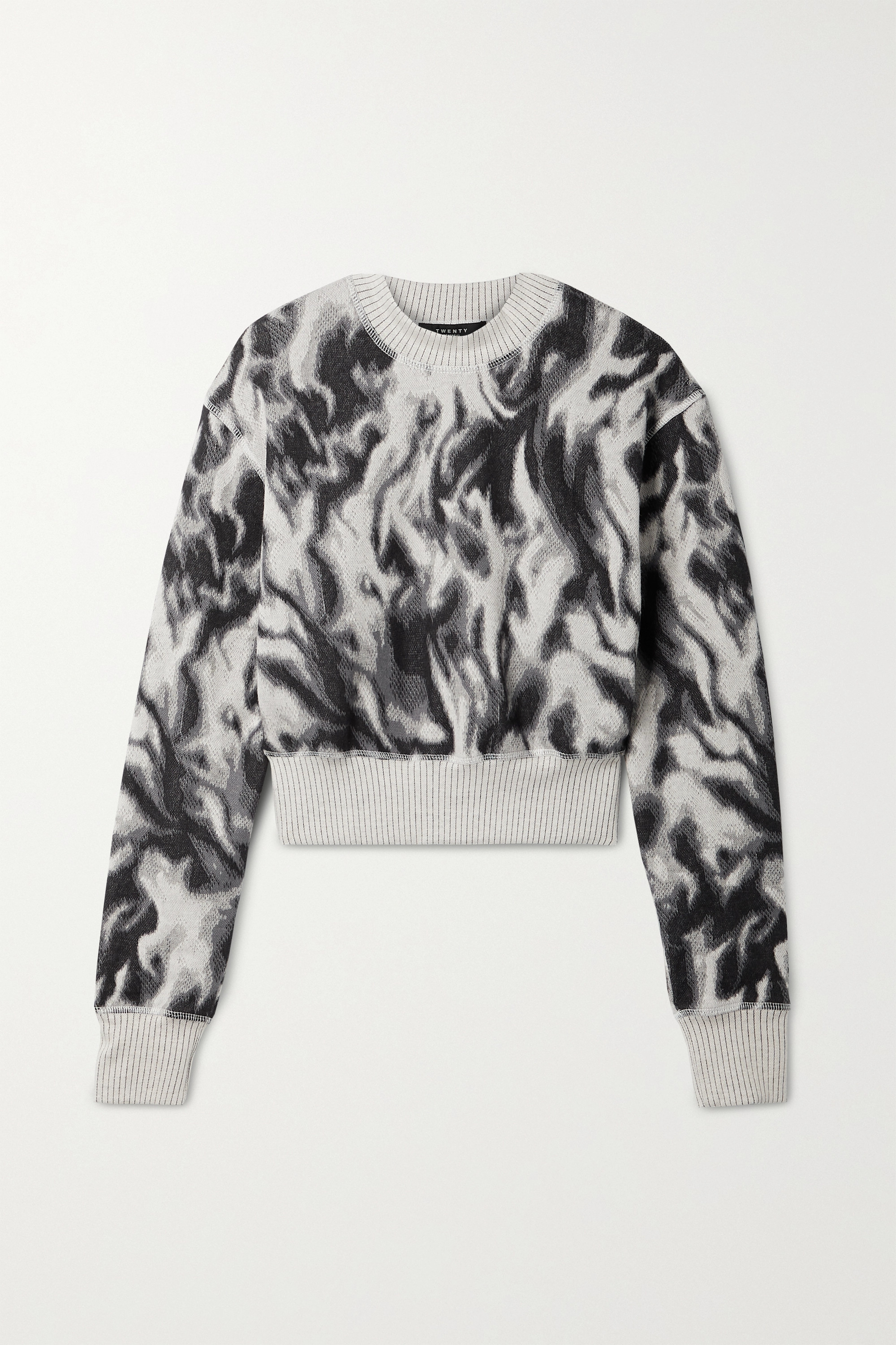 TWENTY MONTRÉAL Flames Hyper Reality cropped jacquard-knit cotton-blend sweater