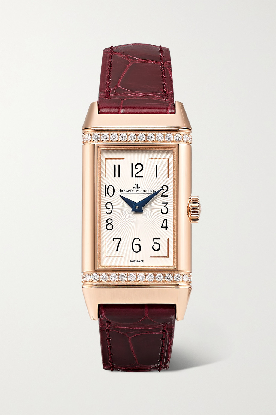JAEGER-LECOULTRE Reverso One Duetto 20mm rose gold, diamond and alligator watch