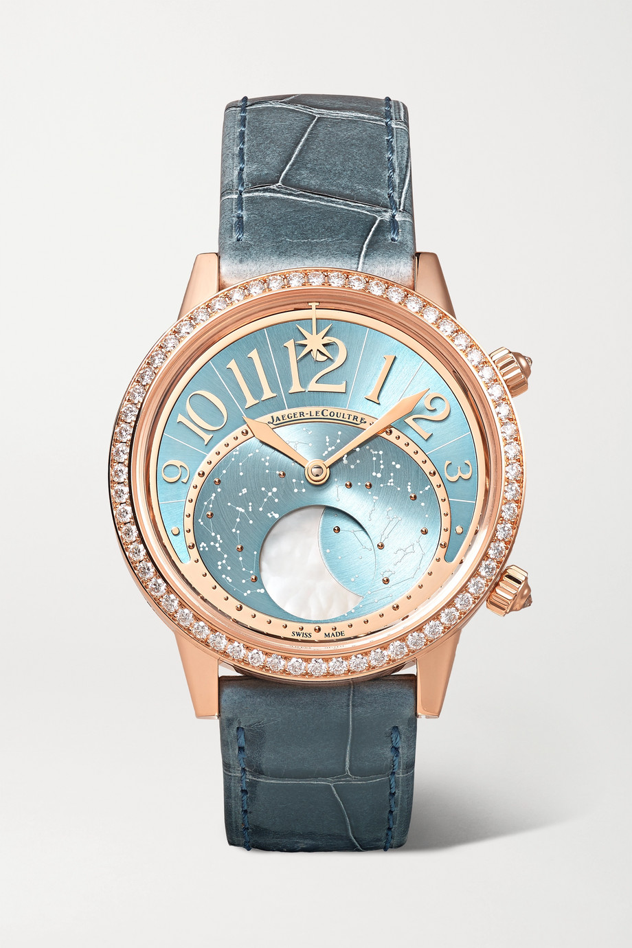 JAEGER-LECOULTRE Rendez-Vous Moon Serenity Automatic 36mm 18-karat rose gold, alligator and diamond watch