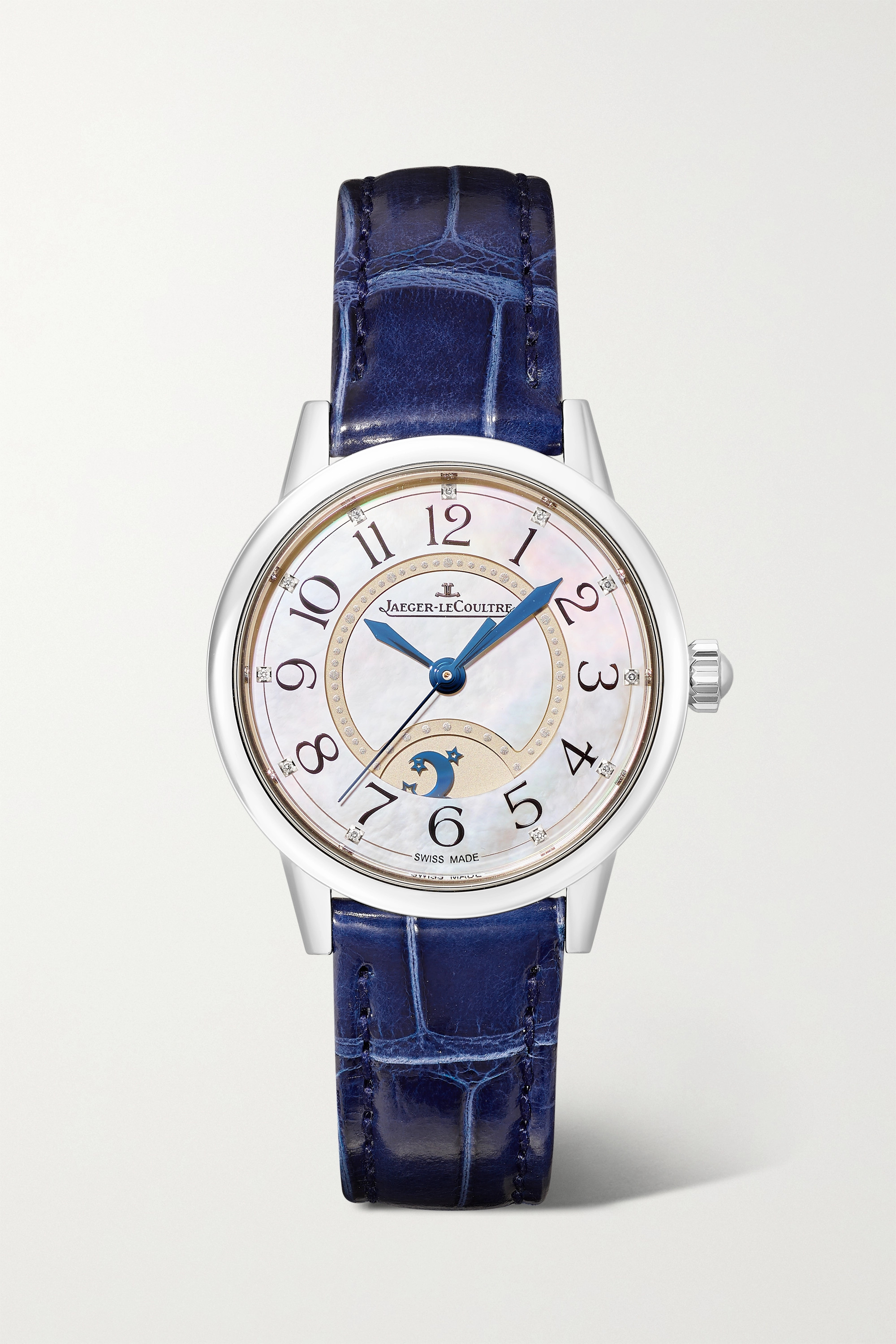JAEGER-LECOULTRE Rendez-Vous Night & Day Automatic Moon-Phase small 29mm stainless steel, alligator and diamond watch