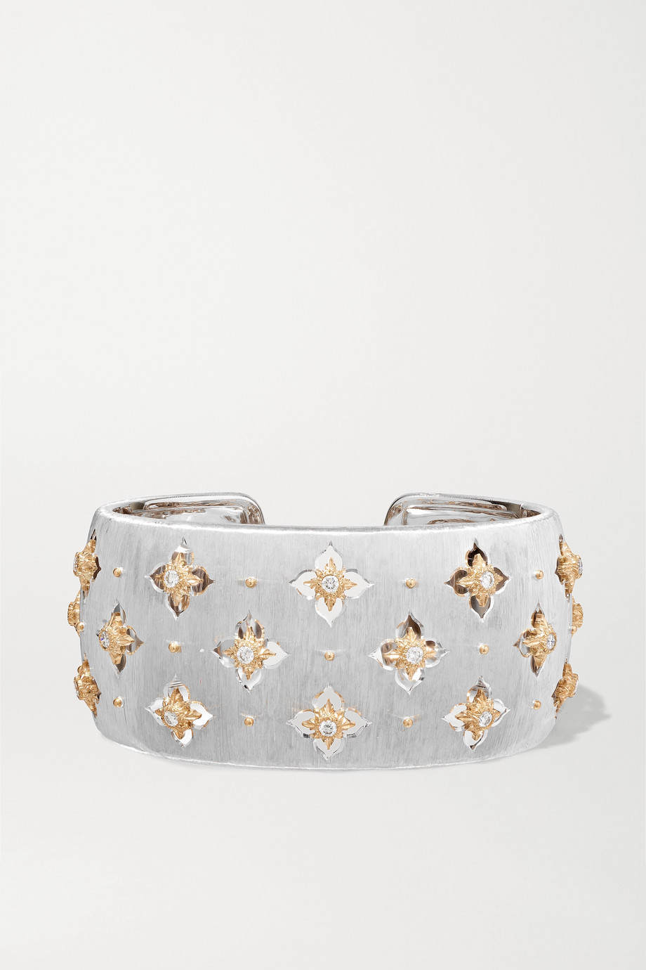 BUCCELLATI Macri Giglio 18-karat white and yellow gold diamond cuff