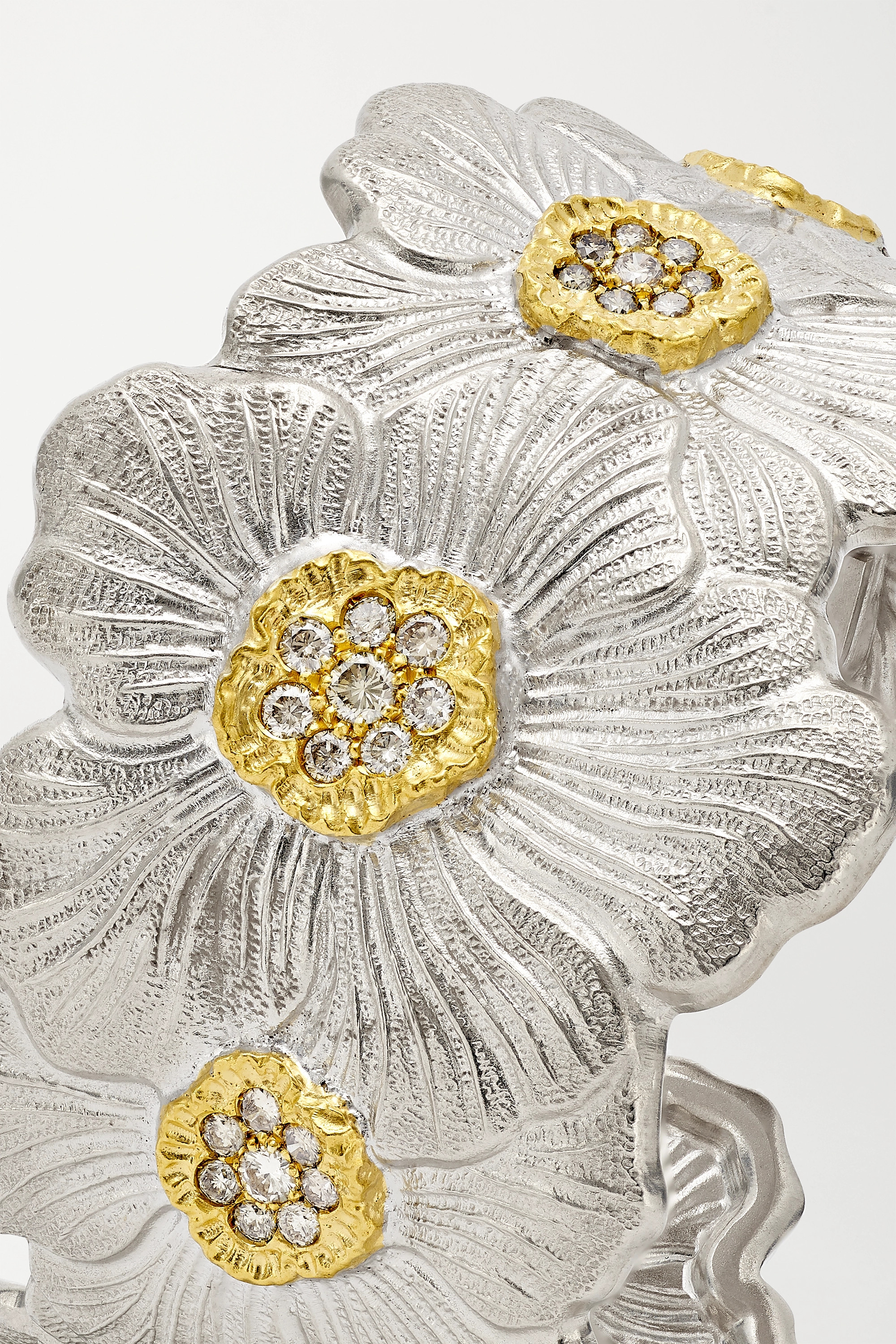 BUCCELLATI Sterling silver and gold vermeil diamond cuff