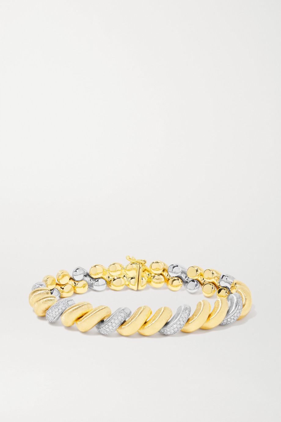 BUCCELLATI 18-karat yellow and white gold diamond bracelet