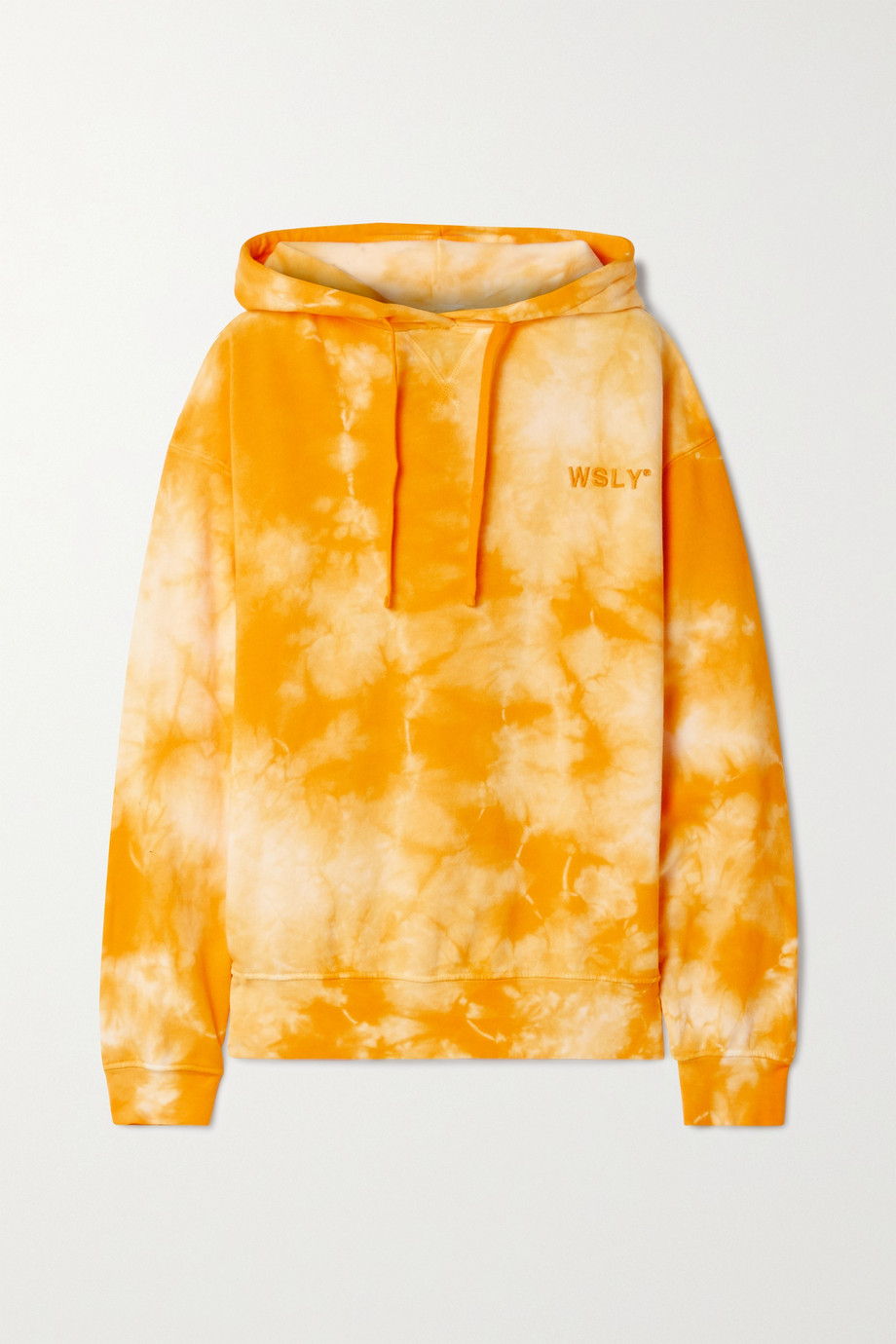 WSLY Embroidered tie-dyed organic cotton-blend jersey hoodie