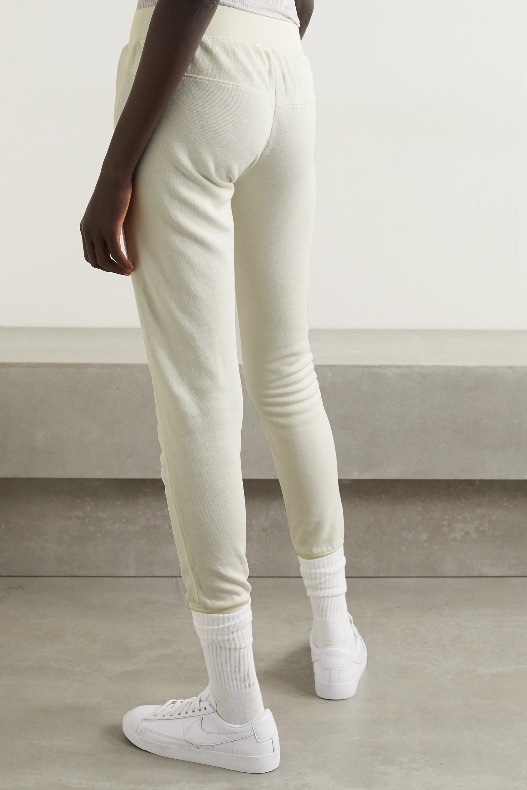 WSLY Lace-up tie-dyed organic cotton-blend jersey track pants