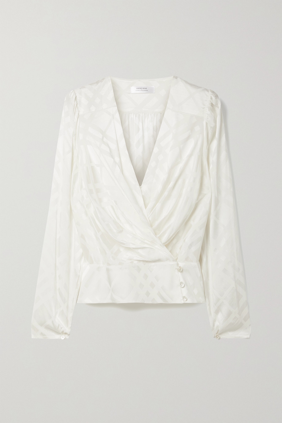 ANINE BING + Helena Christensen June silk-blend satin-jacquard wrap top