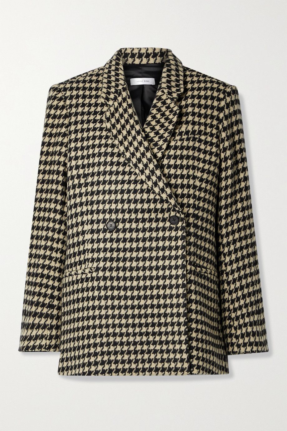 ANINE BING Kaia double-breasted houndstooth wool-blend blazer