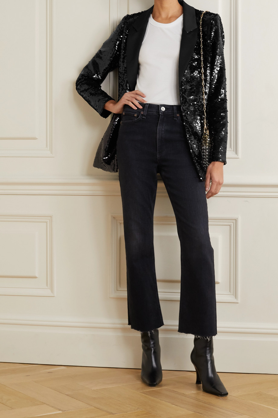 ANINE BING Ace sequined satin blazer
