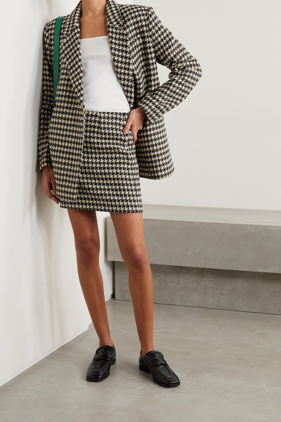 ANINE BING Marie houndstooth wool-blend mini skirt