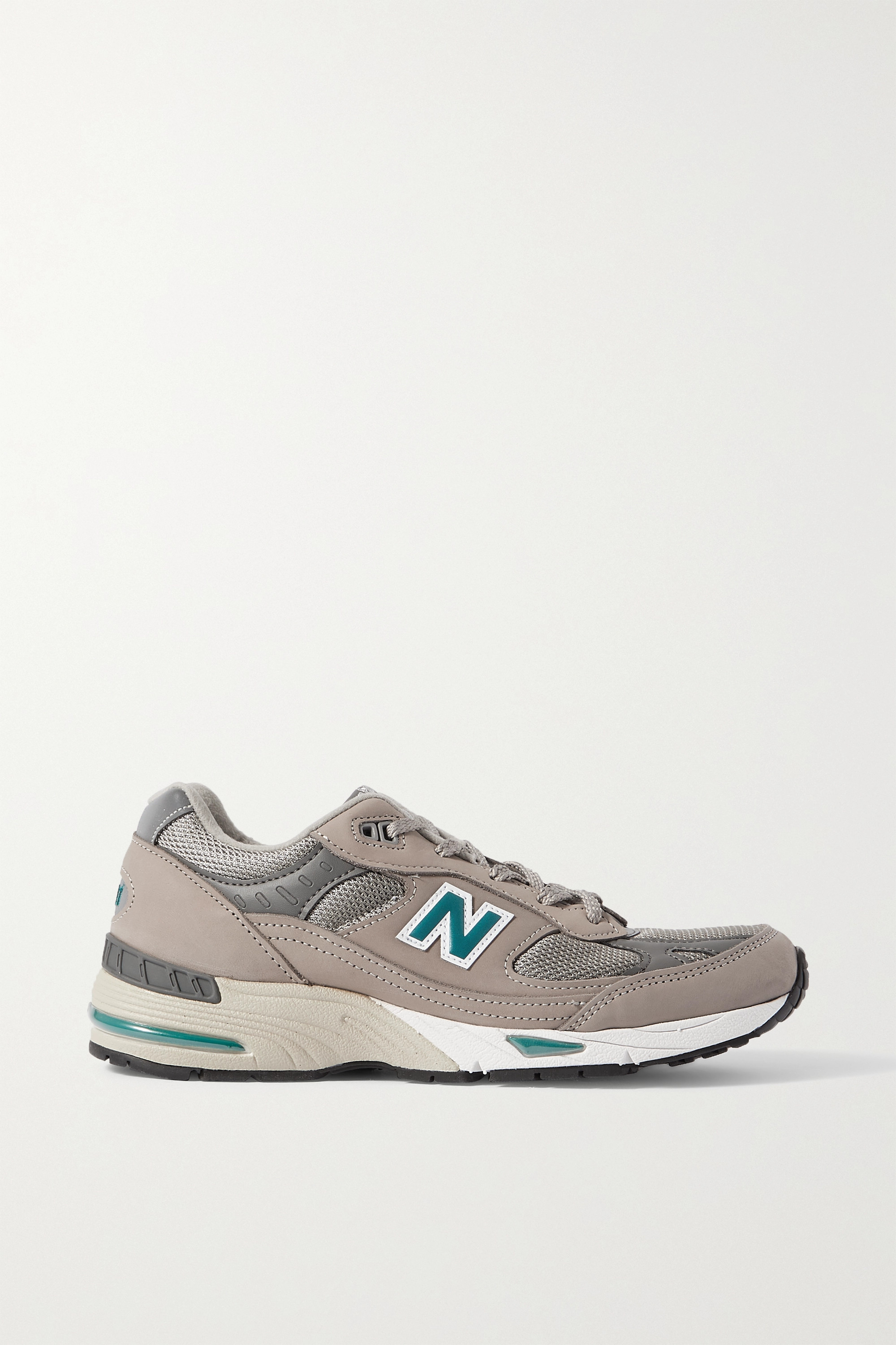NEW BALANCE 991 nubuck, mesh and leather sneakers