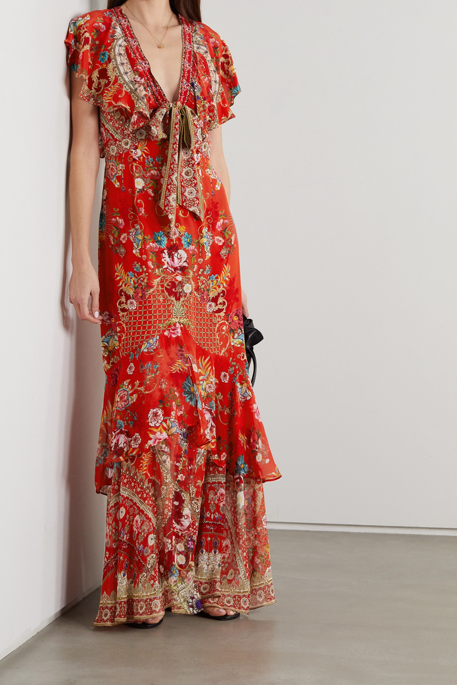 CAMILLA Crystal-embellished tie-front ruffled floral-print silk crepe de chine maxi dress