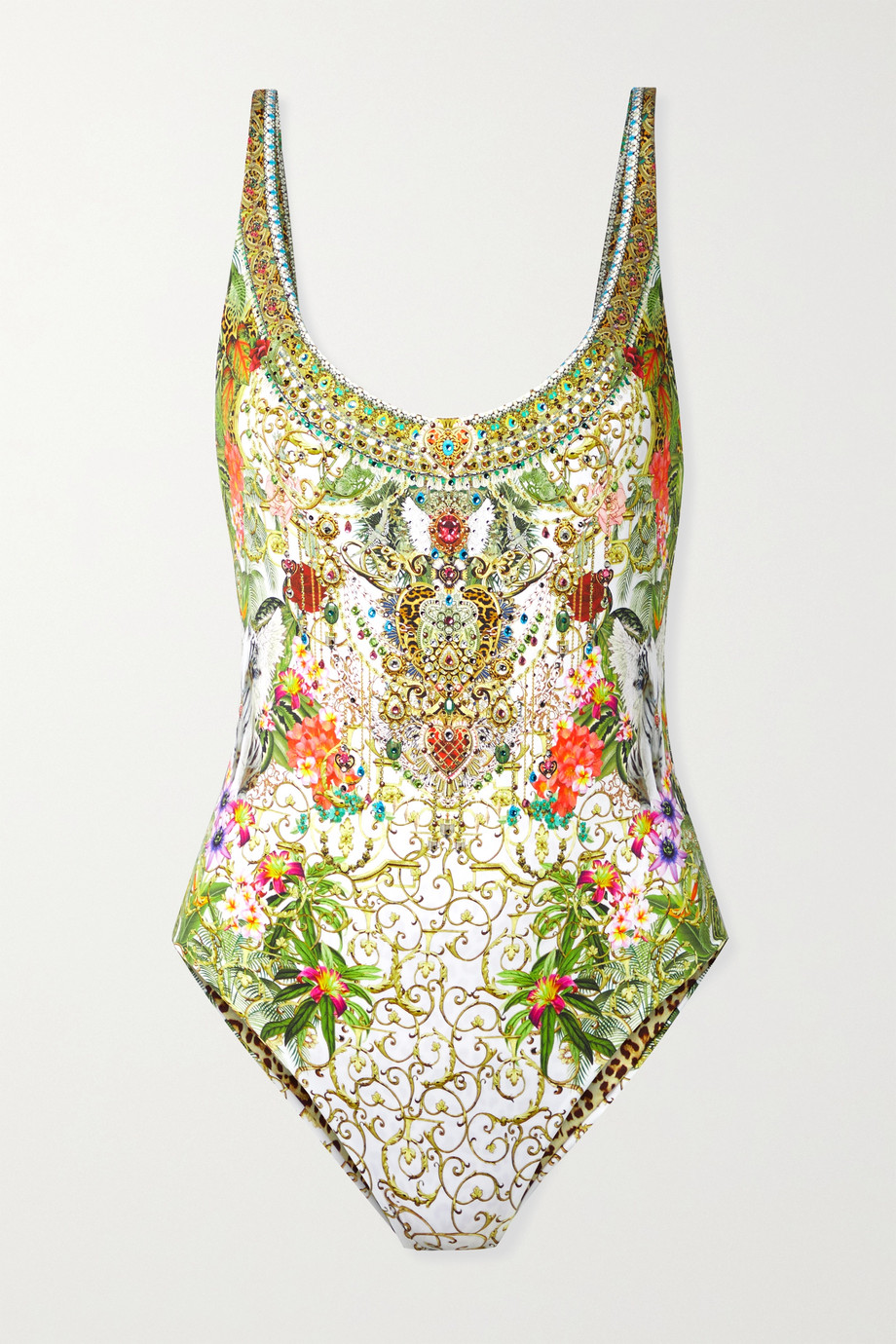 CAMILLA Reversible crystal-embellished printed swimsuit