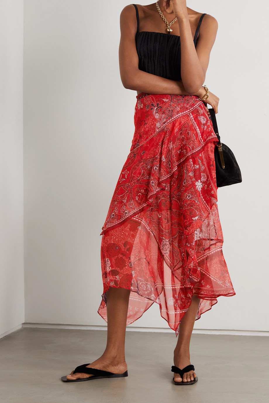CAMILLA Asymmetric crystal-embellished printed silk crepe de chine skirt