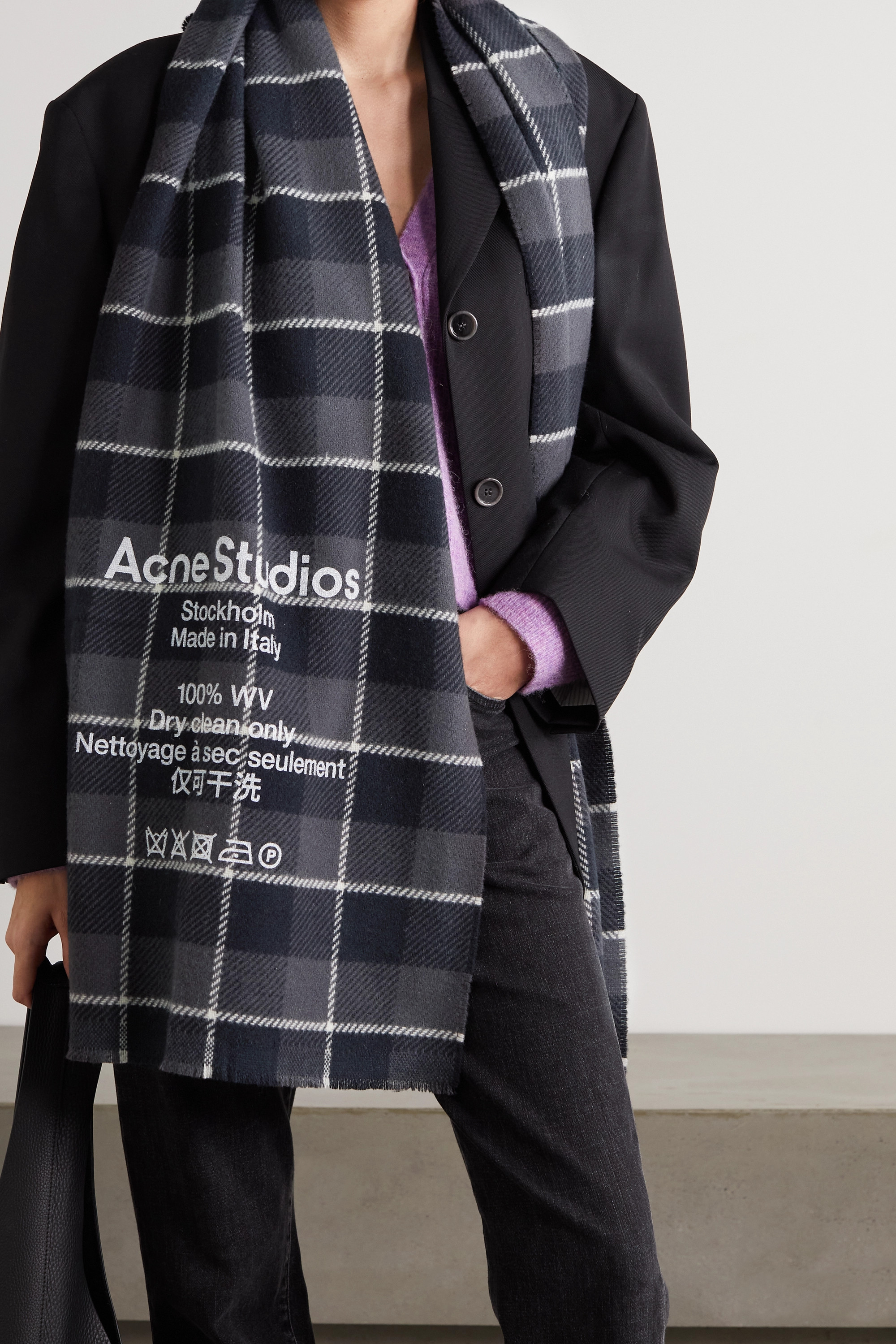 ACNE STUDIOS Printed checked wool scarf