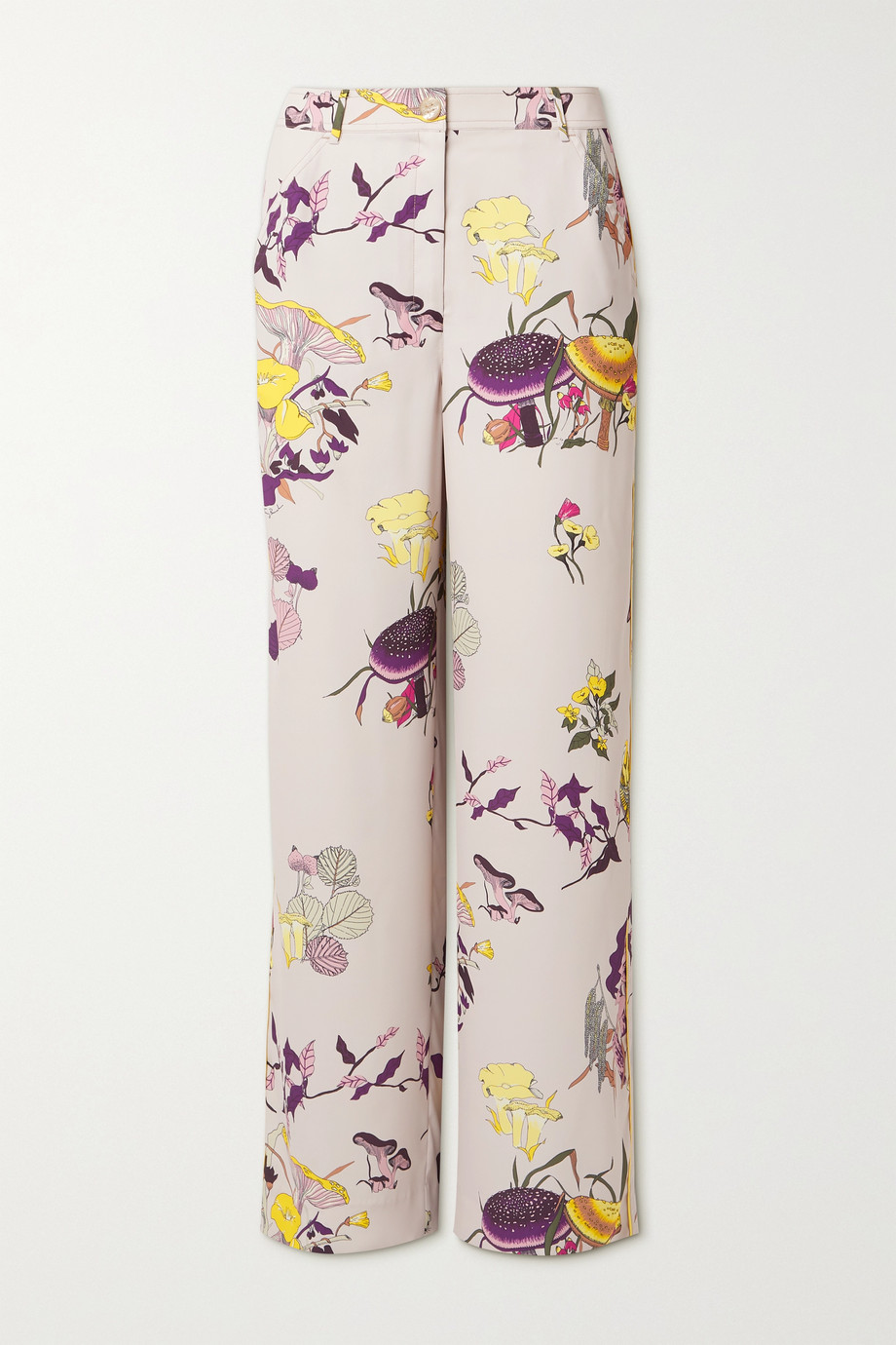 TORY BURCH Printed crepe straight-leg pants
