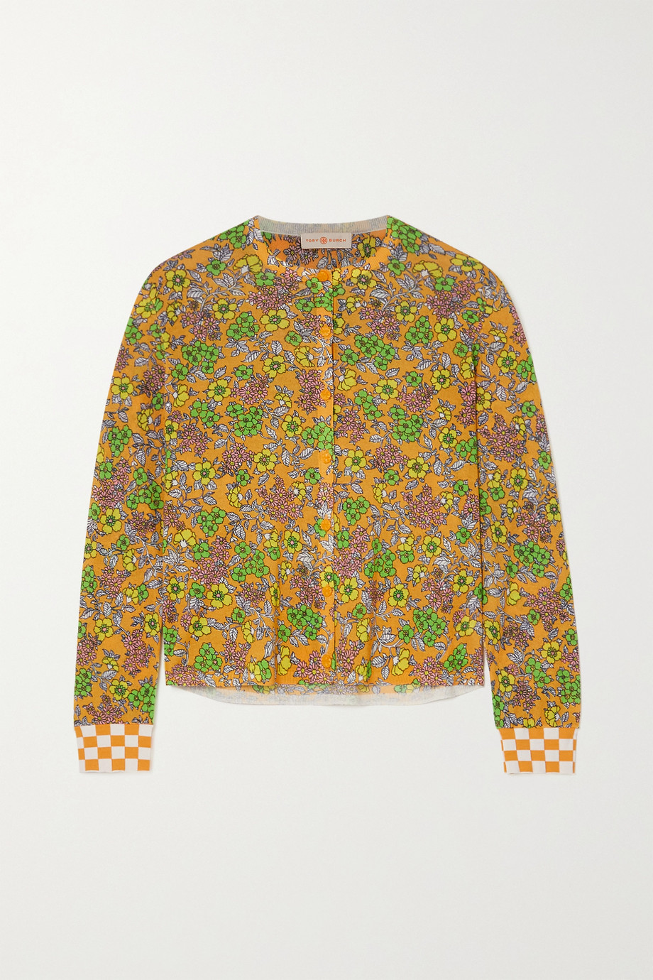 TORY BURCH Cropped checked floral-print cotton-blend cardigan