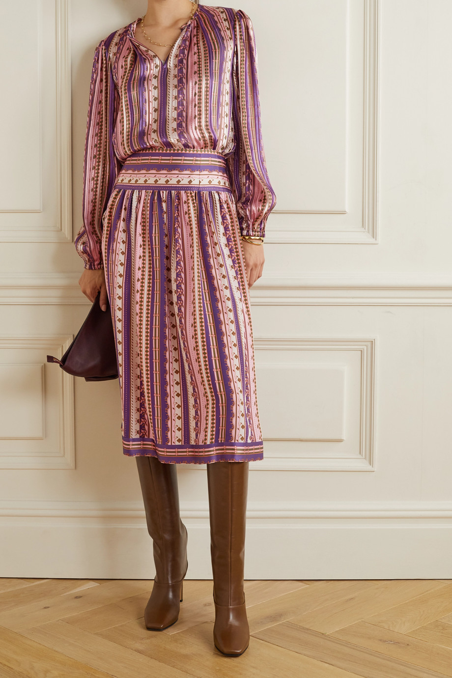 TORY BURCH Pleated printed satin blouse